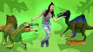 Видео с игрушками - Динозавры для детей - Хищники и травоядные