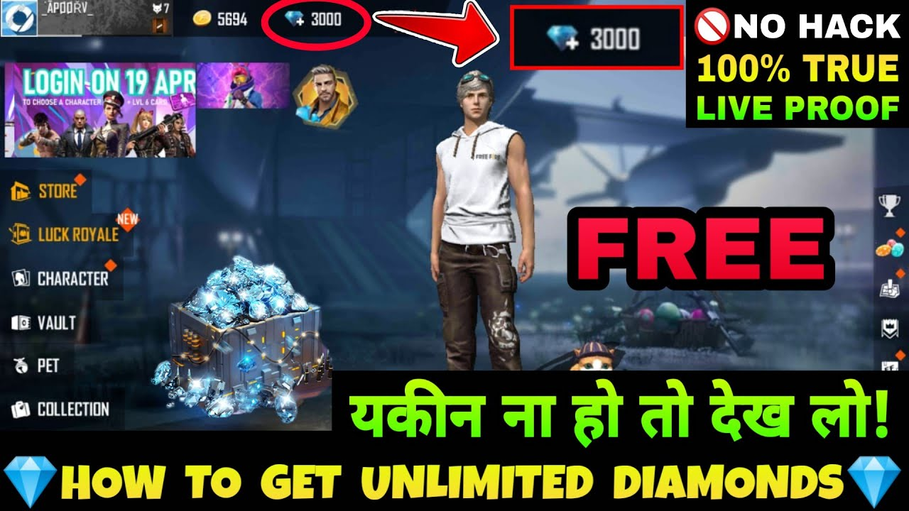 How To Get 3000 Diamonds For Free In Freefire With 100 Live Proof New Trick To Get Free Diamonds Youtube