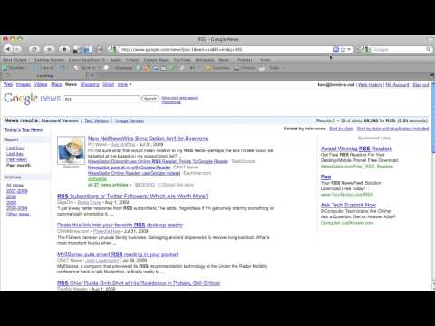 Subscribing to RSS feeds of Google News Searches