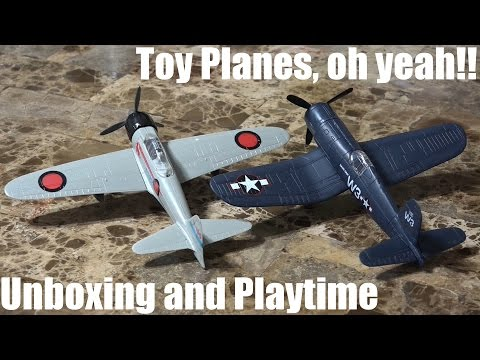Airplane Toys for Kids: Unboxing U.S. Corsair Hellcat and Japanese Zero w/ Hulyan