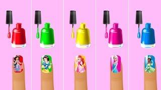 Learn Colors with Design Nail Polish For Disney Princess Frozen Elsa Rapunzel Finger Family Rhymes
