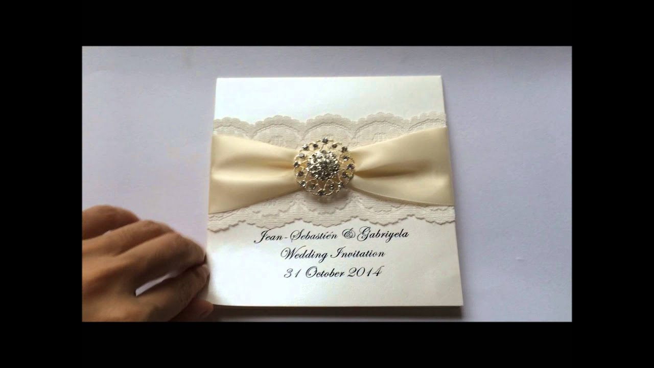 lace wedding invitation with ribbon and rhinestone buckle from