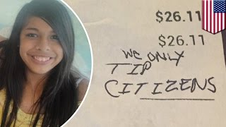 Young waitress received racist message instead of a tip in Virginia restaurant - TomoNews