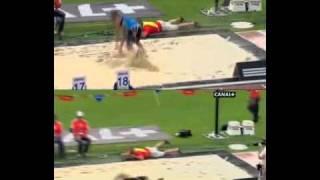 Тройной прыжок мужчины  Compaore foul 18m + Tamgho 17,64m +2,9