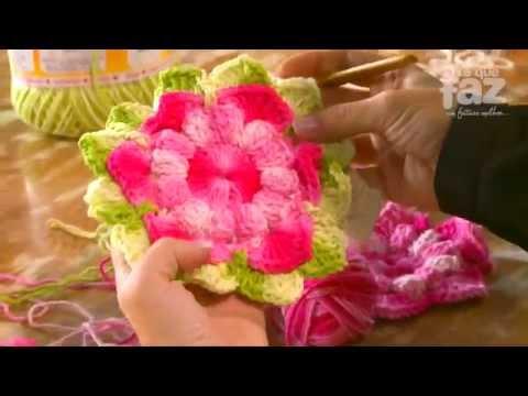 DIY - Almofada de barbante Professora Simone (Flores em Crochê)