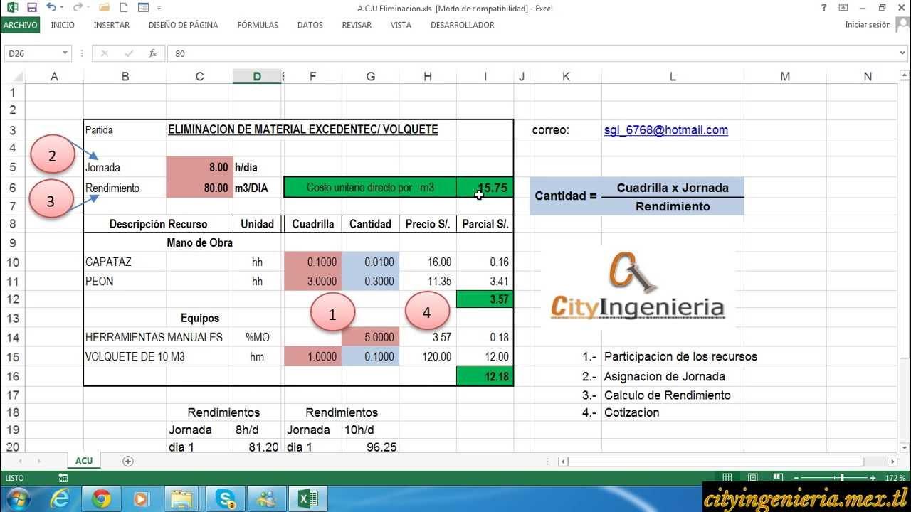 Análisis de Costo Unitario en Excel: Eliminación de Material ...