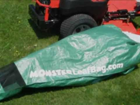 Fast And Easy Commercial Mower Collects Huge Amounts Of Leaves With Monster Leaf Bag Attached