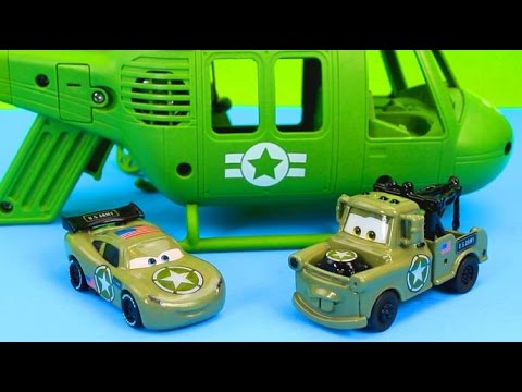 Thumbnail: Disney Pixar Cars Army Lightning McQueen & Mater have their first mission save Gil Just4fun290