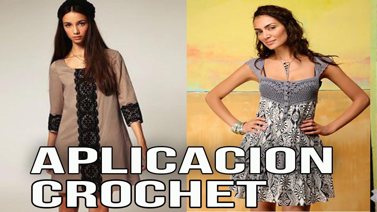 Vestidos con aplicacion tejidas en crochet dise os tela - Aplicaciones en crochet ...