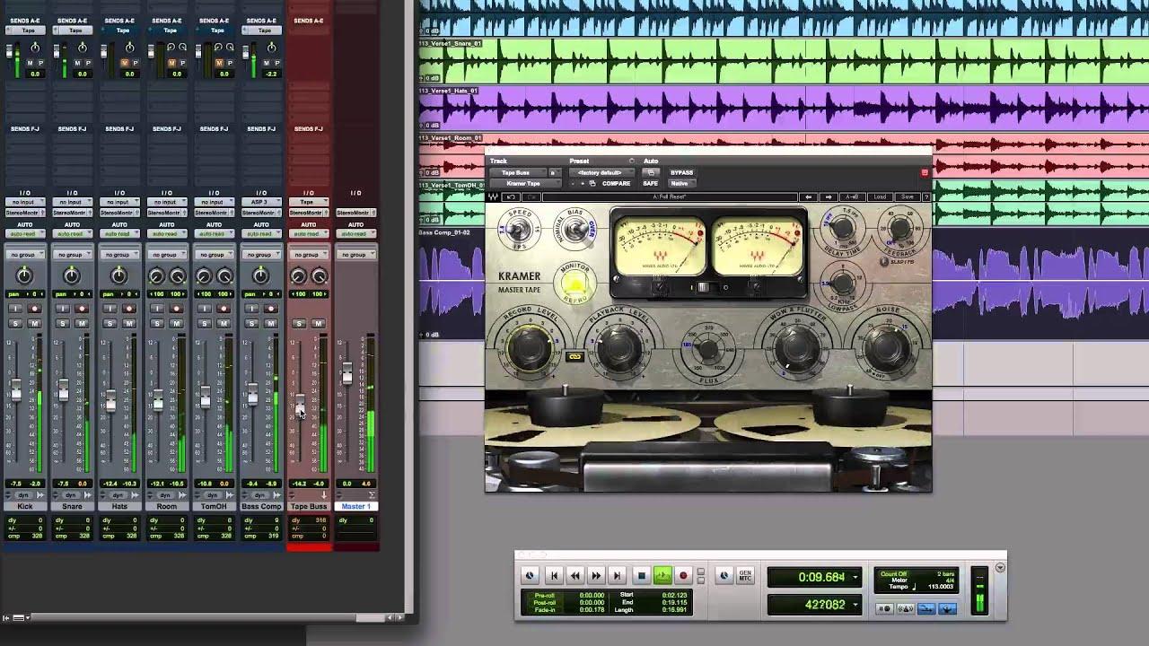 pro tools tutorial use waves kramer master tape on a parallel mix buss youtube. Black Bedroom Furniture Sets. Home Design Ideas