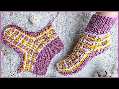 Вязание спицами тапки носки следки