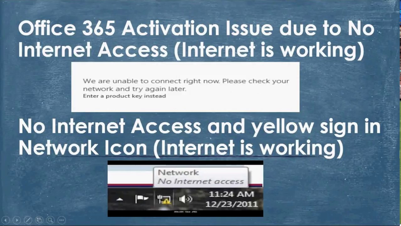 Office 365 Activation Issue due to No Internet Access and yellow sign in  Network Icon