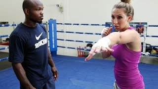Timothy Bradley Jr. Trains Crystina Poncher in the Boxing Ring