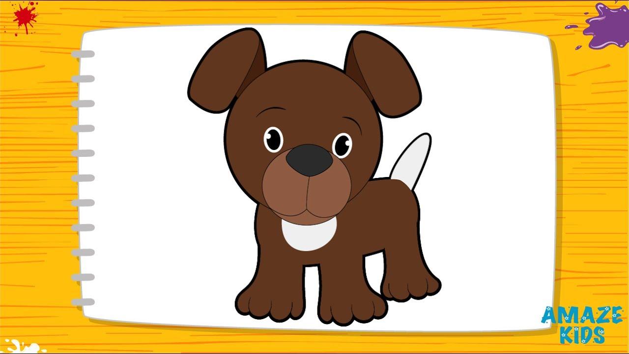 Как Нарисовать Собаку для Детей | домашние животные нарисовать видео