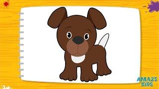 Как Нарисовать Собаку для Детей. Учимся Рисовать Животных. Рисунки Своими Руками. Уроки Рисования