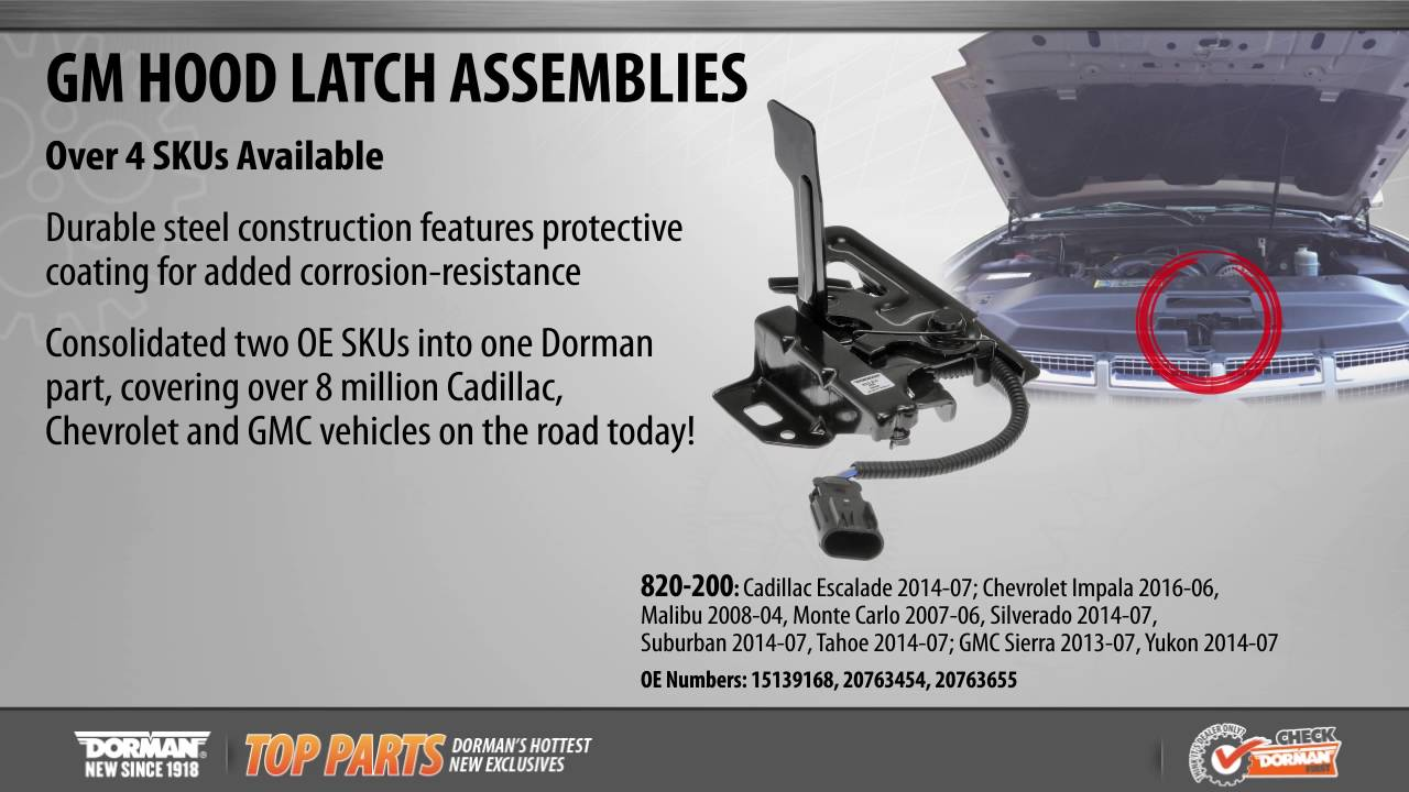 Highlighted Part: Hood Latch Assembly for Select Cadillac, Chevy & GMC  Models