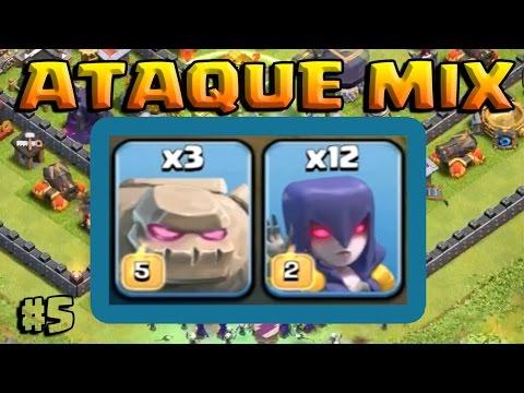 ATAQUE MIX - BRUJAS Y GOLEM - A por todas con Clash of Clans - Español - CoC