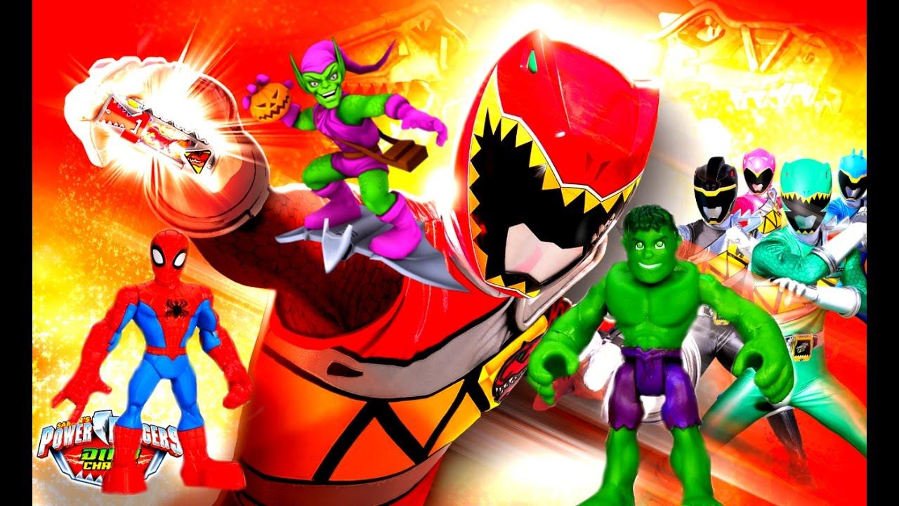 Могучие Рейнджеры Dino Charge Megazord Трансформер Оптимус и СУПЕРГЕРОИ  против Зеленого Гоблина