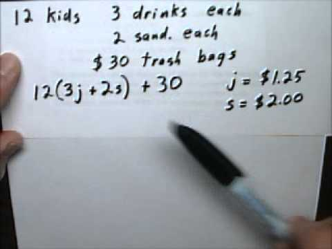 Equation Story Problem 25 Total Cost - Tutor Algebra - YouTube