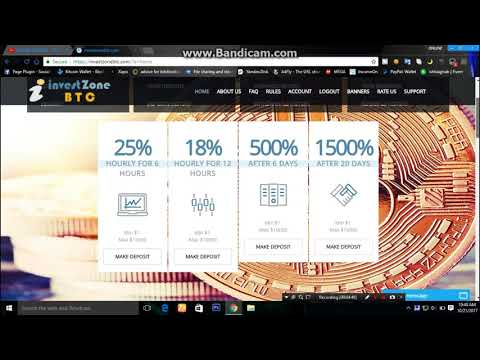 investzonebtc - New Hyip Investment Site Live Payment proof 2017|| 25% hourly for 6 hours