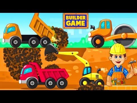 Hoạt hình cần cẩu, máy xúc cát, xe nâng, ôtô chở đất cho bé