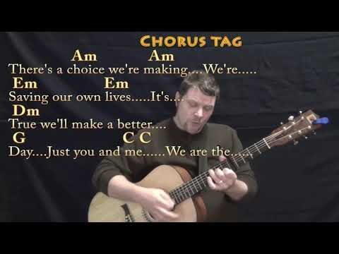 We Are the World (USA For Africa) Strum Guitar Cover Lesson with Chords/Lyrics - Capo 4th & 5th