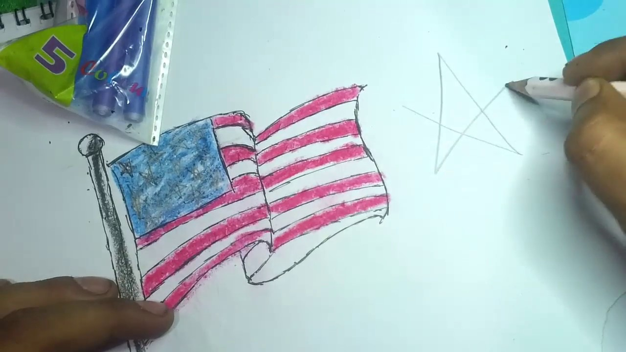 How To Draw American Flag Easily Drawing Easily Step By Step Youtube