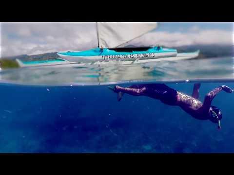 Wonderful day at Mahina-Tahiti French Polynesia, DJI MavicPro+GoPro5 on sailing canoe