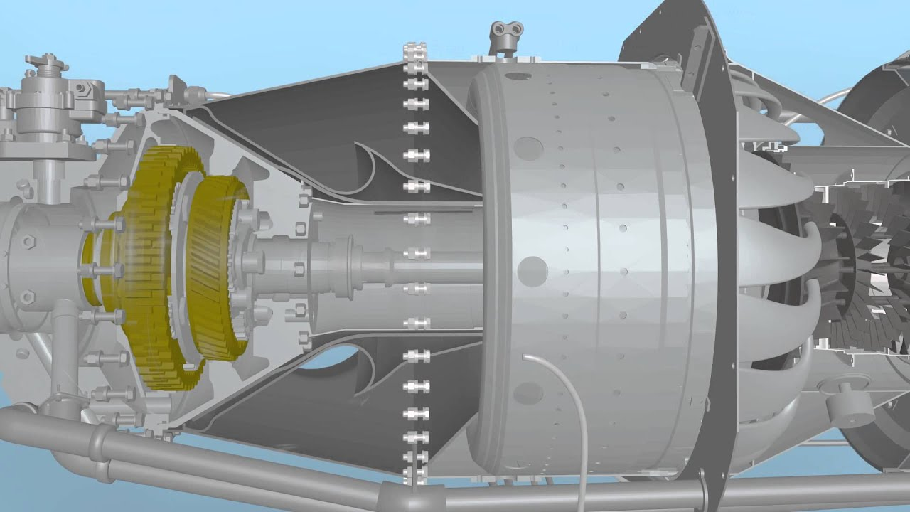 Pratt Whitney PT6A Turboprop Turbine Animation