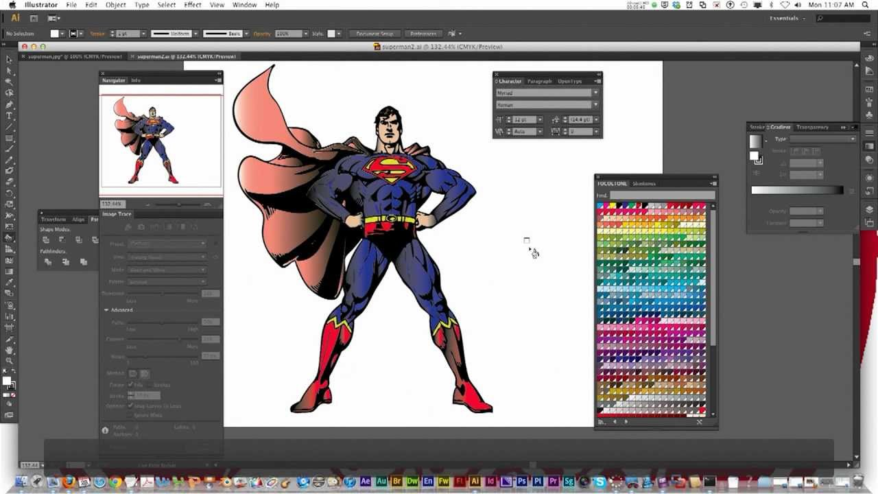 Illustrator Cs6 Character Design : Adobe illustrator cs image trace live paint bucket
