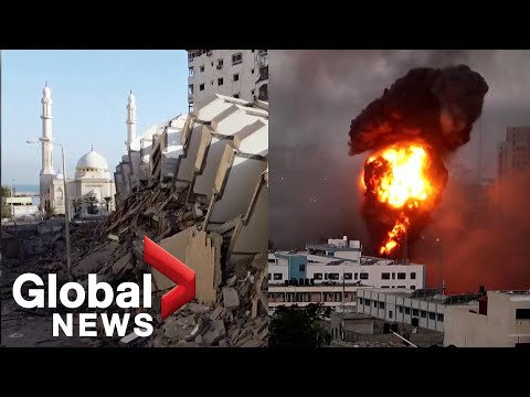 Buildings collapse as Israel carries out hundreds of airstrikes in Gaza