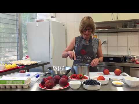 Making a peach pavlova with Slow Food Hunter Valley's Helen Hughes