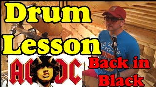 ACDC Back in Black - Hard Rock Drum lesson (Russian language) Уроки игры на барабанах Школа D Drums