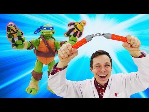 Видео про игрушки - Черепашки ниндзя уменьшились! Игры в больницу с Доктором Ой