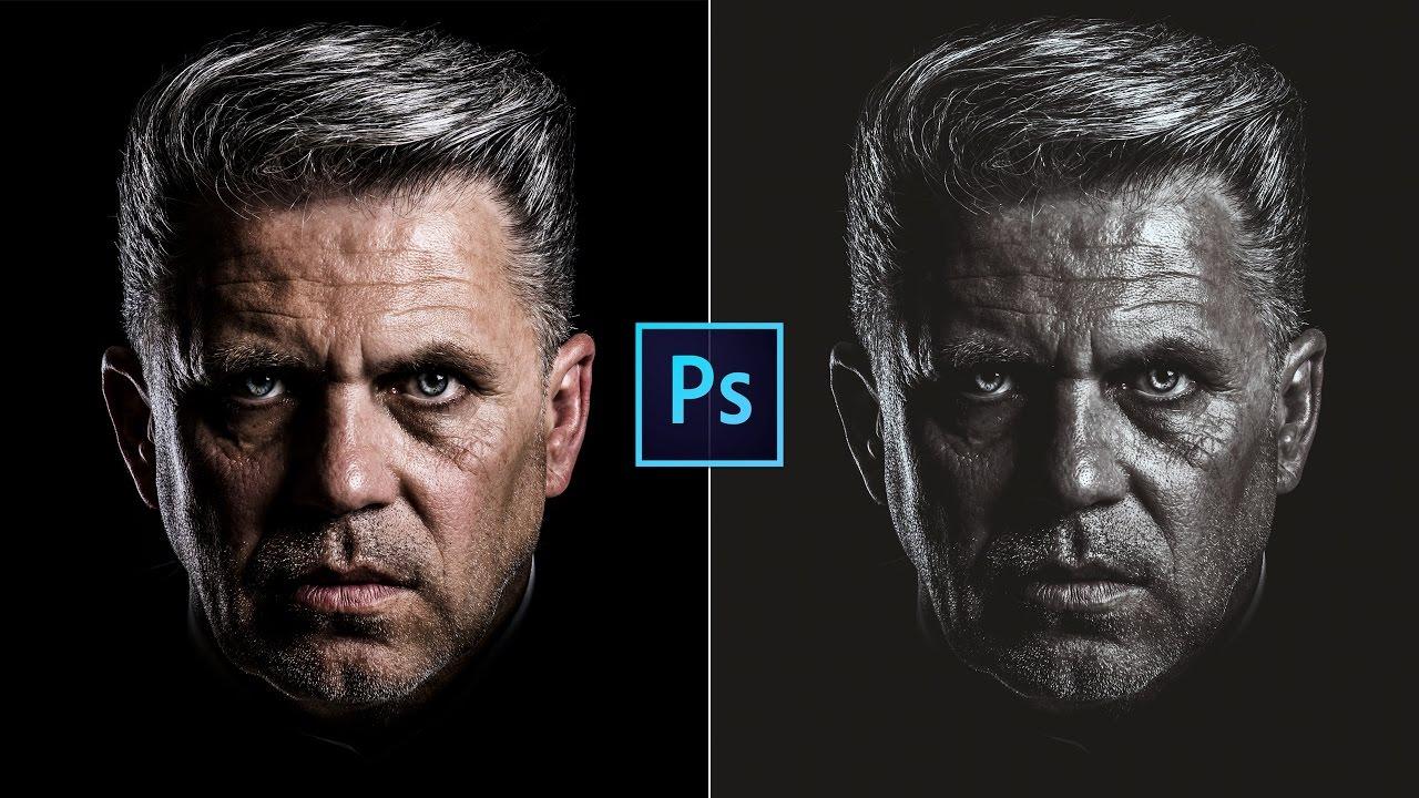 Photoshop cc tutorial dramatic black and white portrait