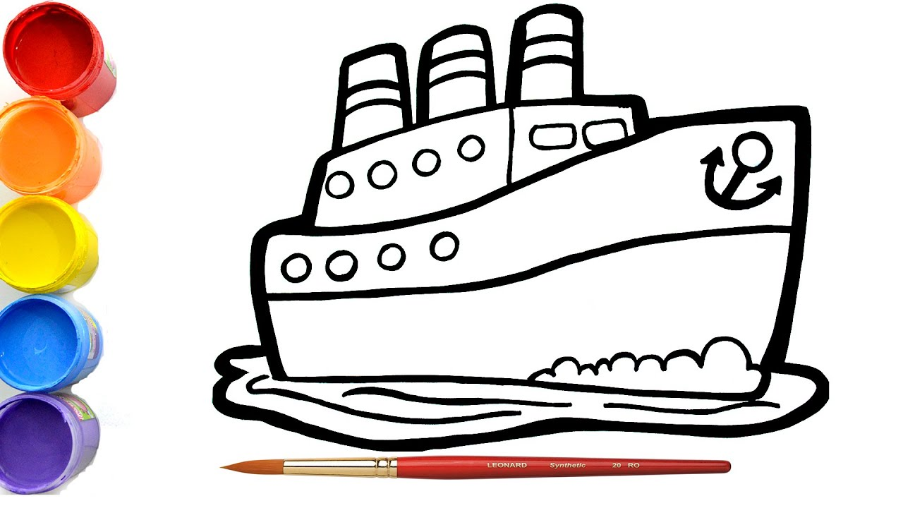 Cara Menggambar dan Mewarnai Mainan kapal 🚤 mainan ...
