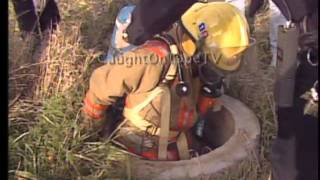 DEER FALLS INTO SEWER PIPE!