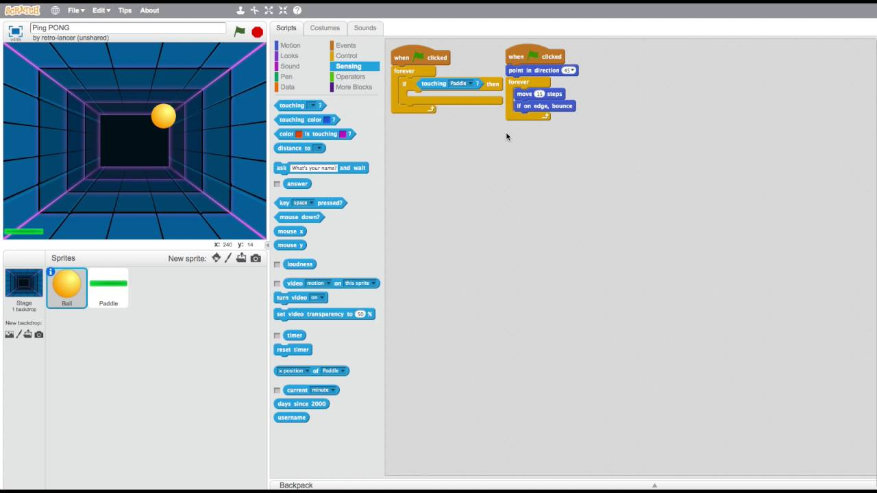 How To Make A 2 Player Ping Pong Game On Scratch