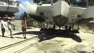 Sailing Trimaran Haul-out At Holiday Oceanview Marina On Samal Island, Philippines