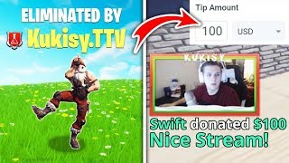 Donating To Every Twitch Streamer That Kills Me... (Fortnite)