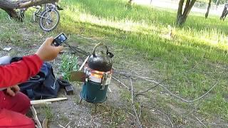Печь выживания , мега размера  для маленькой компании. или Дачи..(Построил за один вечер и пол дня горит замечательно , дрова грузятся удобно 2л воды в чайнике закипает..., 2015-06-03T07:51:12.000Z)