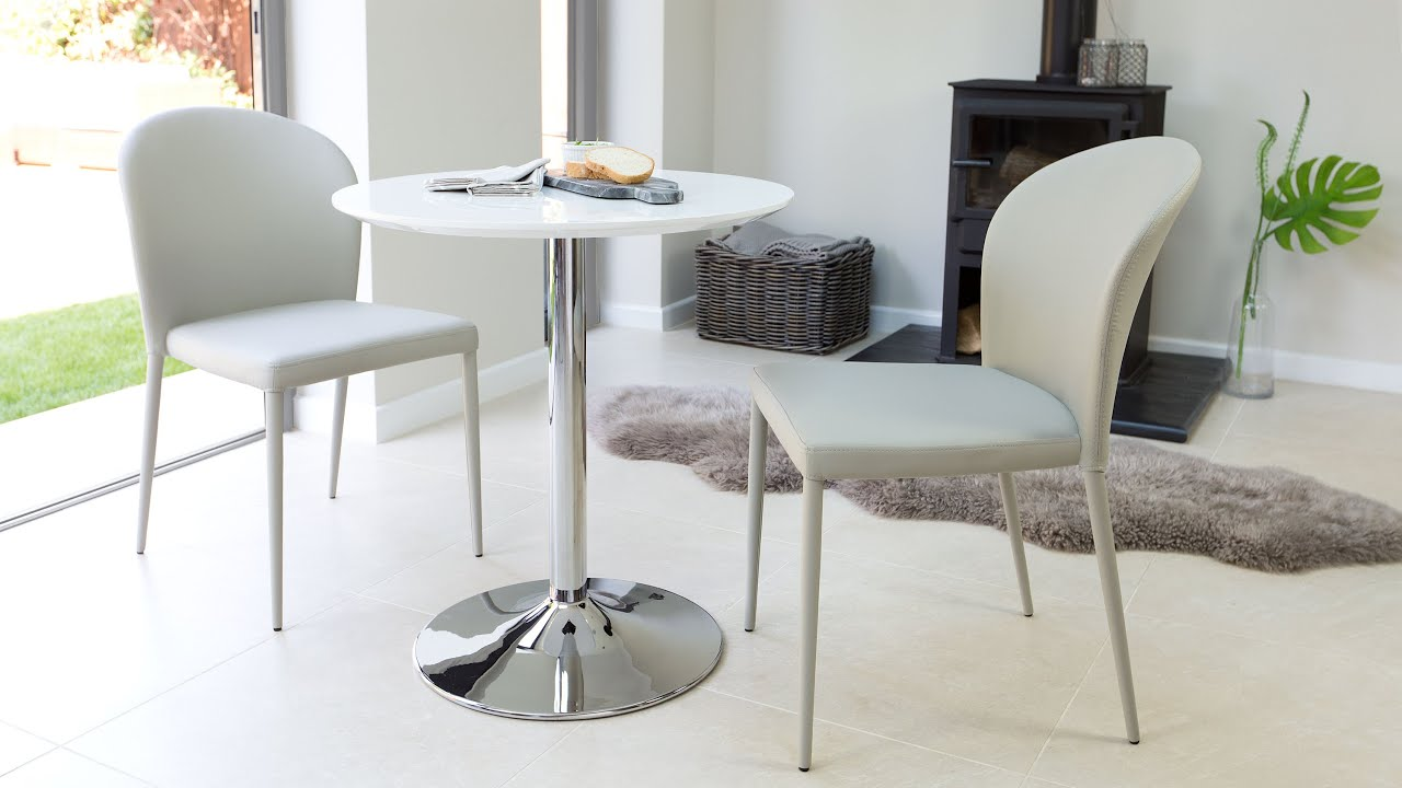 Modern Round 2 Seater White Gloss Dining Set