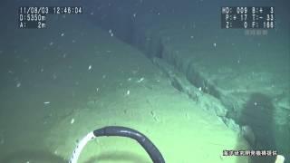 震源域の深海底に亀裂 有人潜水調査船「しんかい6500」