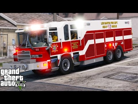 GTA 5 Play As A Firefighter Mod 41|Los Santos Fire Department Heavy Rescue Responding To A Huge Fire
