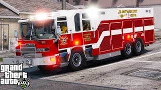 GTA 5 Play As A Firefighter Mod 41 Los Santos Fire Department Heavy Rescue Responding To A Huge Fire