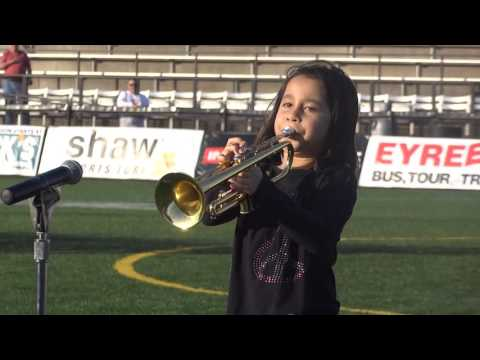 7 year old Trumpet Prodigy The Star Spangled Banner Queen Judy Dove Alleva