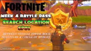 Fortnite Battle pass vehicle tower , rock sculpture ,circle of hedges