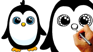 Very Easy! How to Draw a Cute Cartoon Penguin. Art for Kids!