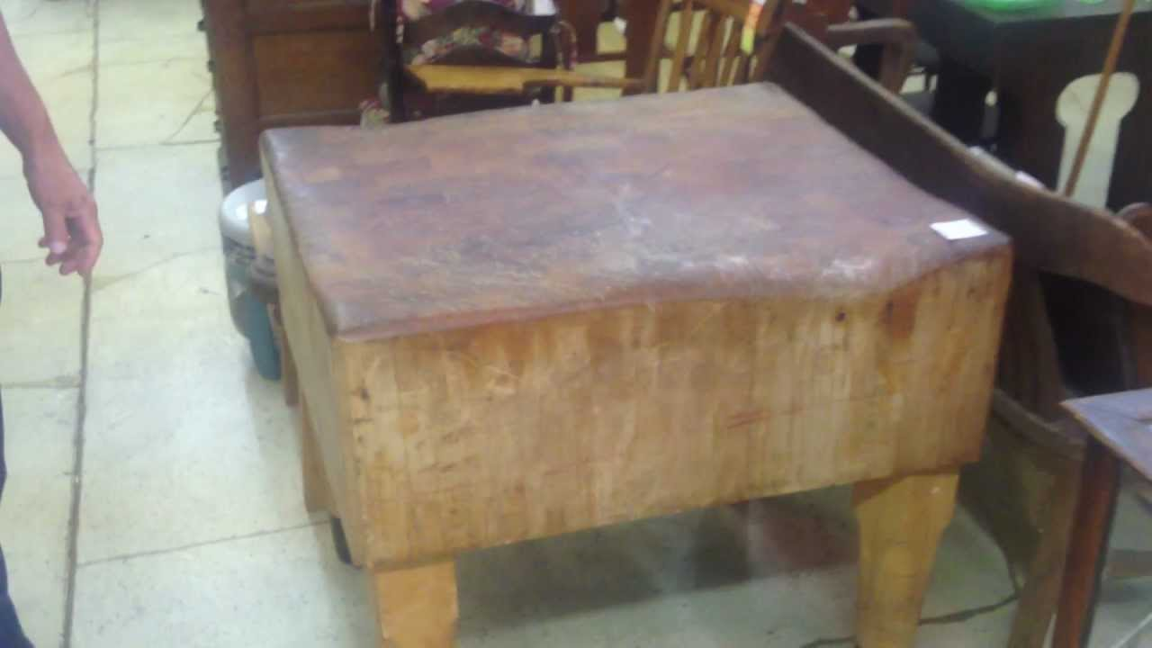 Antique Large Butcher Block With Dovetail Joints
