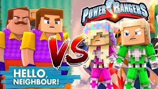 HELLO NEIGHBOUR VS POWER RANGER-PINK POWER RANGER SAVES HER BOYFRIEND!!! - Baby Leah Minecraft